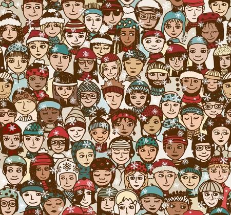 mensen Winter - naadloze patroon van een menigte van lachende mensen met verschillende culturele en etnische achtergronden met winter hoeden en sjaals