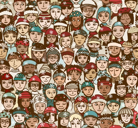 Winter people - seamless pattern of a crowd of smiling people from different cultural and ethnic backgrounds with winter hats and scarfs Ilustração