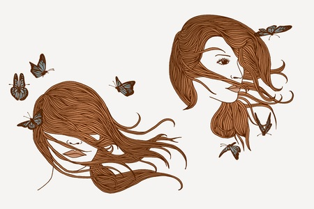 woman hair: Hand drawn illustration of women with long hair and butterflies