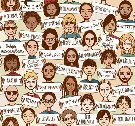"""bienvenida: sin patrón de un grupo de personas dibujadas a mano con carteles de """"bienvenida"""" en diferentes idiomas"""
