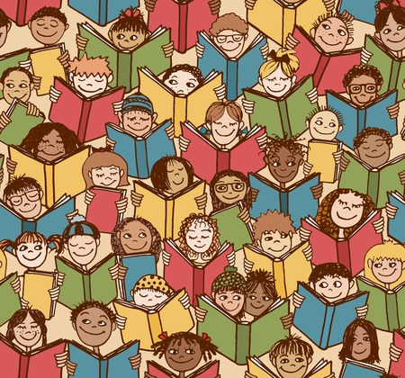 Seamless pattern of kids reading colorful books