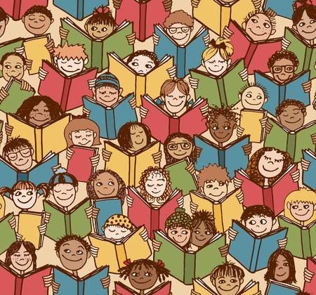 niños negros: Modelo inconsútil de los niños la lectura de libros de colores Vectores