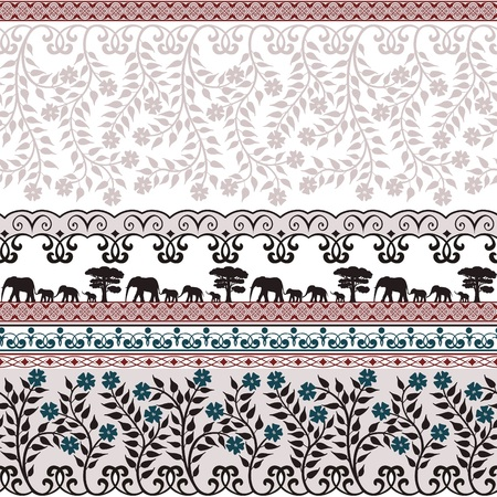 textil: Los elefantes y los adornos de flores