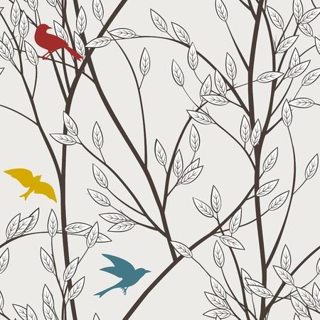 カラフルな鳥と枝のシームレス パターン  イラスト・ベクター素材