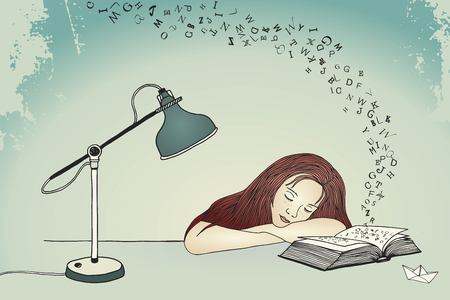 Drawing of a young woman asleep at her desk Illustration