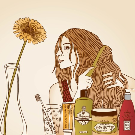 personal grooming: Hair care illustration No. 33 colored