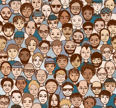 Men - hand getrokken naadloze patroon van een menigte van verschillende mensen uit verschillende etnische achtergronden