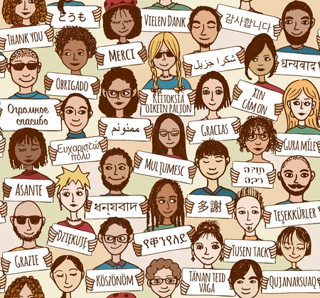 "Seamless pattern of a group of hand drawn people holding ""thank you"" signs in different languages"