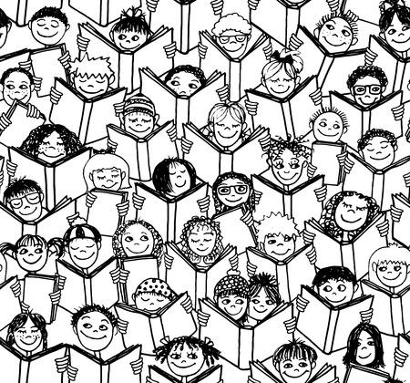 Hand drawn seamless pattern of kids reading books - black and white illustration