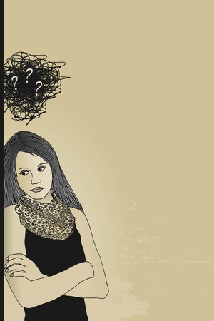 Sad, depressed, disappointed girl, confusion and question marks in her head - hand illustration Vectores