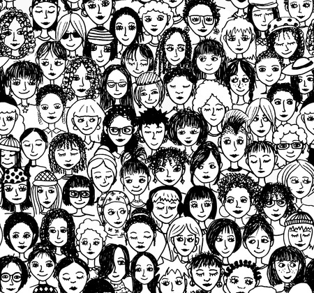 young woman face: Women - hand drawn seamless pattern of a crowd of different women from diverse ethnic backgrounds