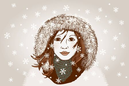 fur: Hand drawn portrait of a woman in winter, with hoody, scarf and snowflakes
