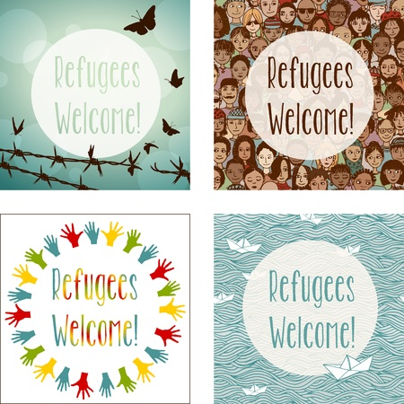 donna farfalla: Set of four Refugees Welcome images