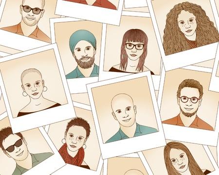 Hand drawn  photo portraits of women and men Illustration