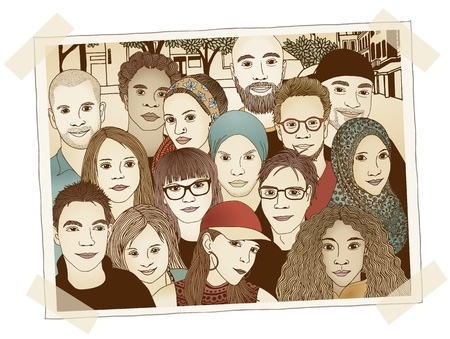 Illustrated photo of a group of young people - each person is drawn individually by hand and digitally colored