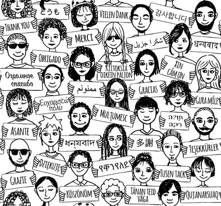 """muchas personas: Patrón transparente de un grupo de personas dibujados a mano que sostienen """"Gracias"""" signos en diferentes idiomas Vectores"""