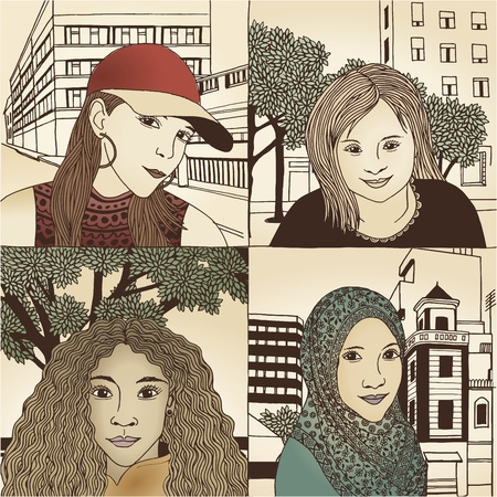 Hand drawn portraits of women from various cultural backgrounds - No. 1 - colored