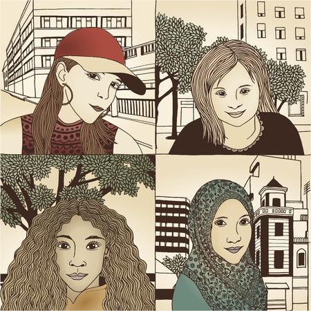 diversidad: Mano dibujado retratos de mujeres de diversos orígenes culturales - N ° 1 - color