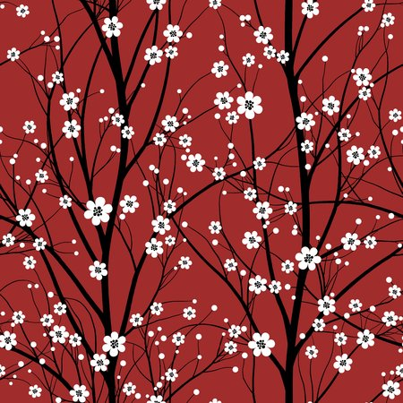 Cherry tree seamless pattern