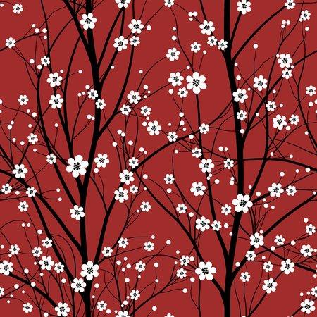 flor de cerezo: Cerezo patrón transparente Vectores