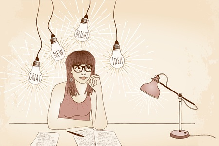 author: Hand drawn illustration of a young woman with glasses, thinking and imagining new and innovative ideas