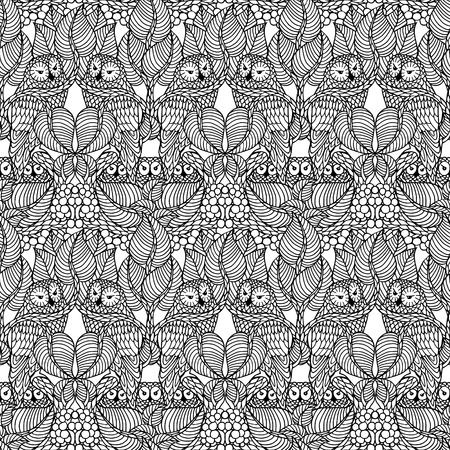 Hand drawn seamless owl pattern - black  white can be used for adult coloring books
