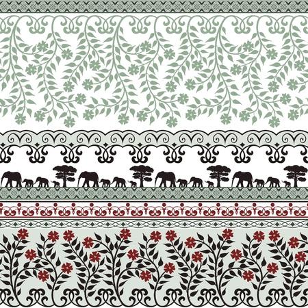 Print design: Little elephants and flower ornaments