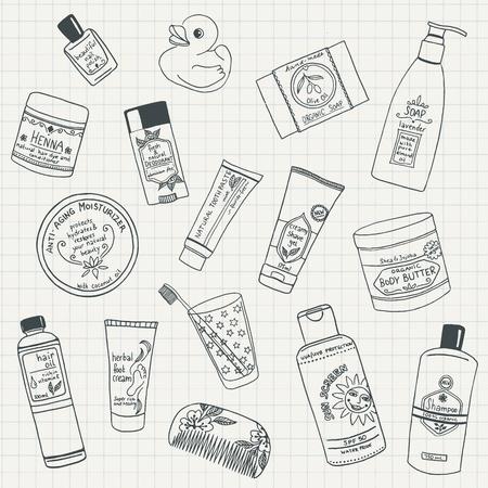 productos naturales: Colección de mano dibuja productos para el cuidado de la belleza orgánica