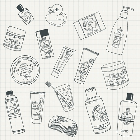 beauty care: Collection of hand drawn organic beauty care products