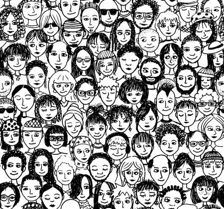 mucha gente: La gente feliz - dibujado a mano sin patrón de una multitud de diferentes personas de diversos orígenes culturales que están sonriendo y feliz