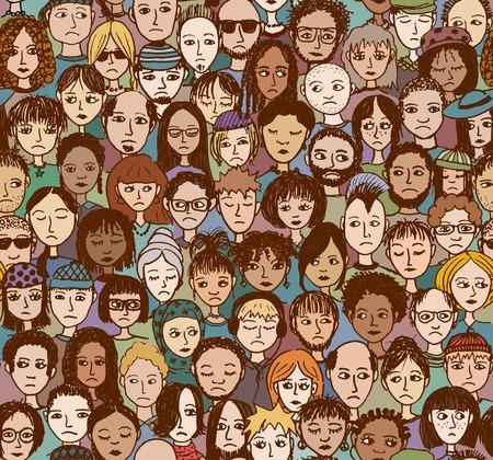 Ongelukkige mensen - hand getrokken naadloze patroon van een menigte van verschillende mensen die verdrietig en teleurgesteld Stock Illustratie