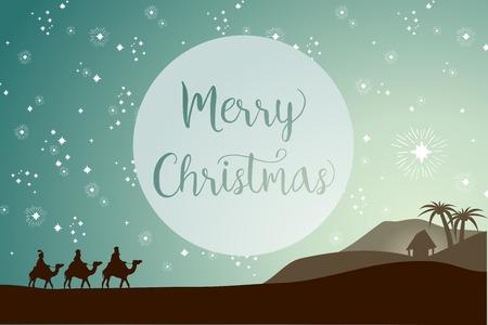 nacimiento: Plantilla de tarjeta de Navidad, tres Reyes Magos siguiendo la estrella