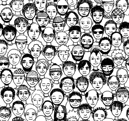 Men - hand drawn seamless pattern of a crowd of different men from diverse ethnic backgrounds Stock Illustratie