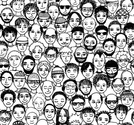volti: Uomo - disegnato a mano senza soluzione di modello di una folla di uomini diversi da diverse origini etniche