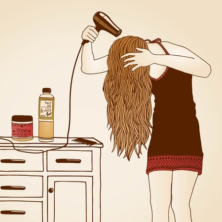girl happy: Hair care illustration No. 23 colored Illustration