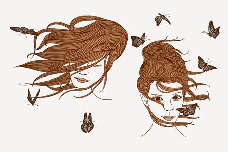 female hair: Hand drawn illustration of women with long hair and butterflies
