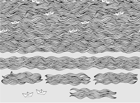 oceano: Patrón transparente y banderas de las ondas dibujadas a mano con los pequeños barcos de papel