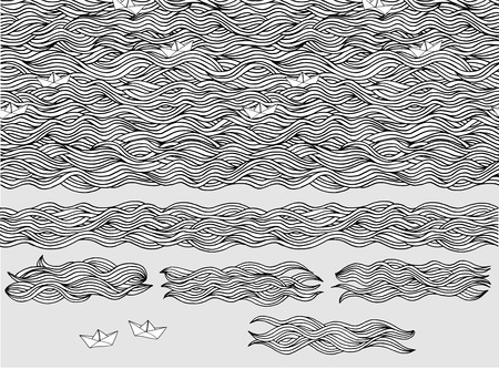 Seamless pattern and banners of hand drawn waves with little paper boats Çizim
