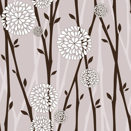 design vector: Branches and white flowers - seamless pattern