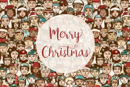 Christmas card template with a group of hand drawn doodle faces
