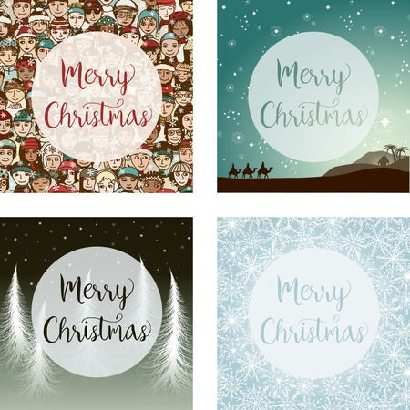 stable: Set of four square Christmas card designs