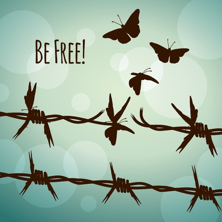 barbed wire fence: Be free! Conceptual illustration of barbed wire turning into butterflies