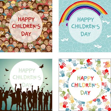 Conjunto de cuatro imágenes para el Día Internacional de la Infancia Foto de archivo - 48042680