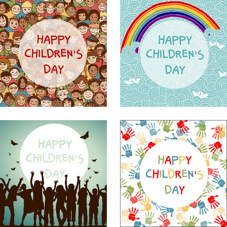mixed family: Set of four images for international Childrens Day