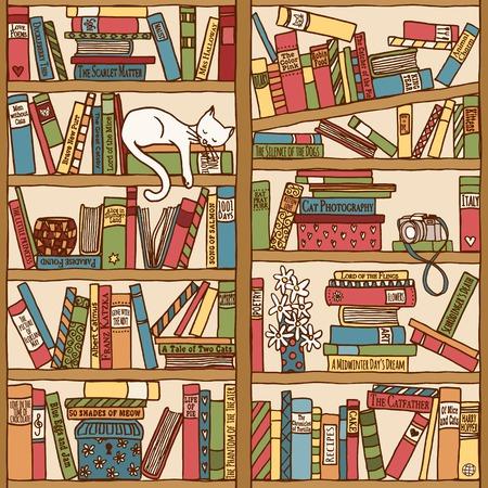 Main bibliothèque dessinée avec couchage chat Banque d'images - 49960254