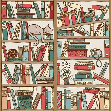 Hand gezeichnet Bücherregal mit schlafende Katze Standard-Bild - 49960255