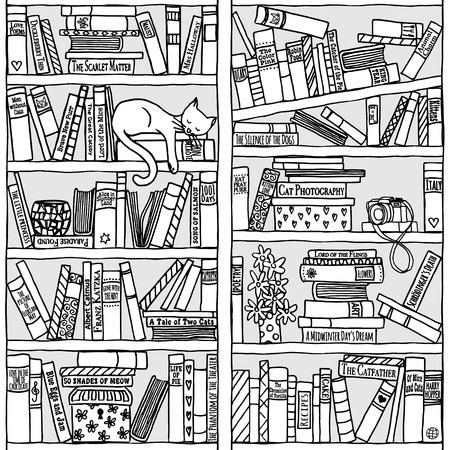 Hand drawn bookshelf with sleeping cat - black and white Illustration