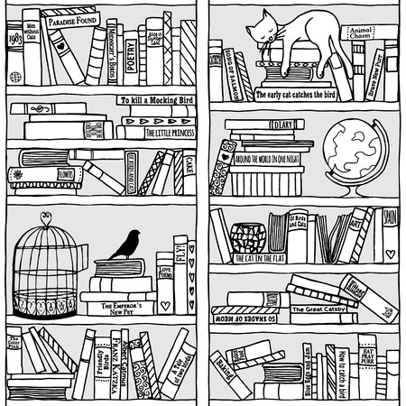 Hand drawn bookshelf with sleeping cat