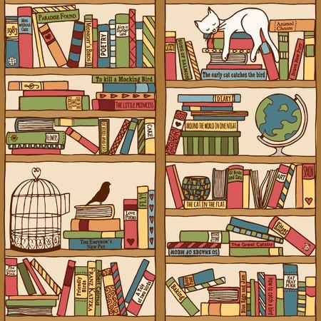 Hand drawn bookshelf with sleeping cat