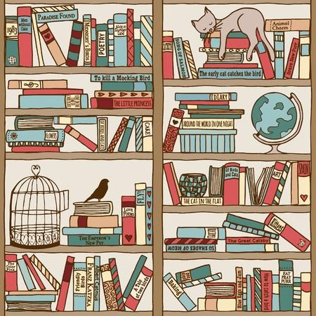 Hand gezeichnet Bücherregal mit schlafende Katze Standard-Bild - 50154447